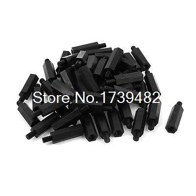 M4 20+6mm Male Female Thread Nylon Hex Standoff Spacer Screws PCB Pillar 50pcs m3 spacer hex standoff pcb hex nuts nylon black pillar female to female