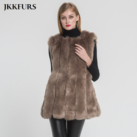 2019 Women's Faux Fur Gilet Furry Fake Fur Vest Winter Warm Fur Luxury Outerwear High Quality Fashion Vertical Style S8408