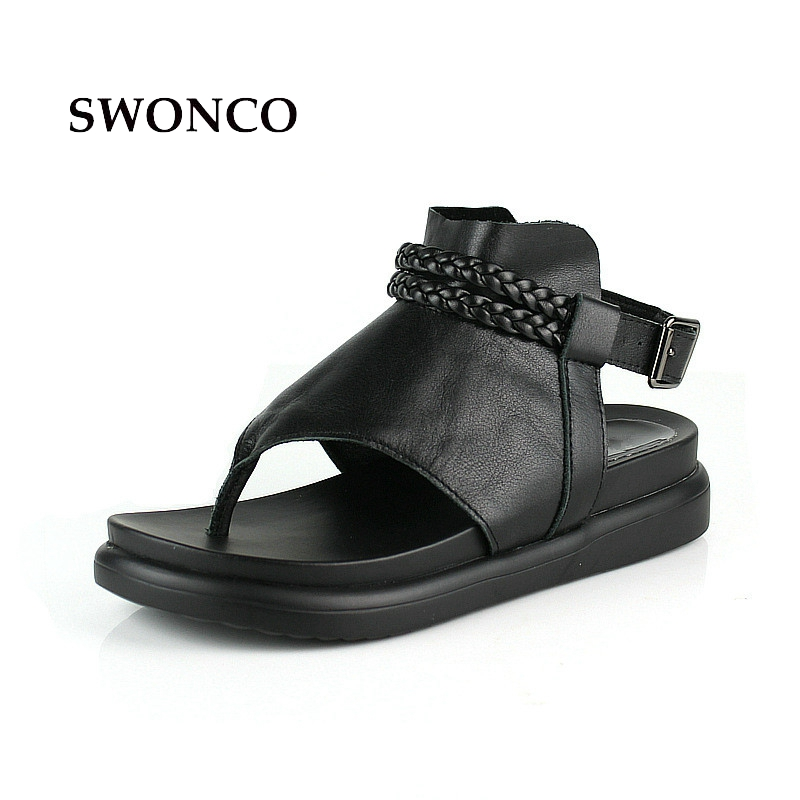 SWONCO Women's Sandals 2018 Summer Genuine Leather Thick Sole Ladies Shoes Gladiator Sandals Women Platform Black Woman Shoes lin king thick sole women sandals retro rome gladiator sandals students thick sole platform shoes lace up summer beach shoes