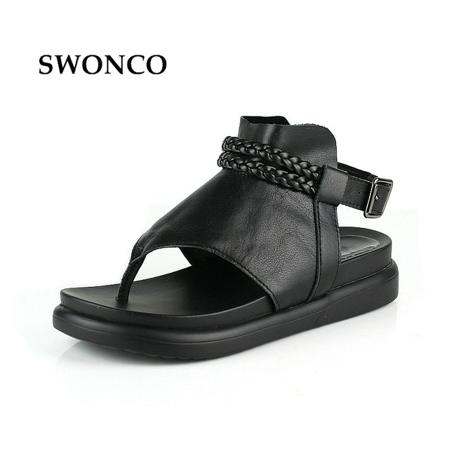 0c40a8d92986 SWONCO Women s Sandals 2018 Summer Genuine Leather Thick Sole Ladies Shoes  Gladiator Sandals Women Platform Black Woman Shoes