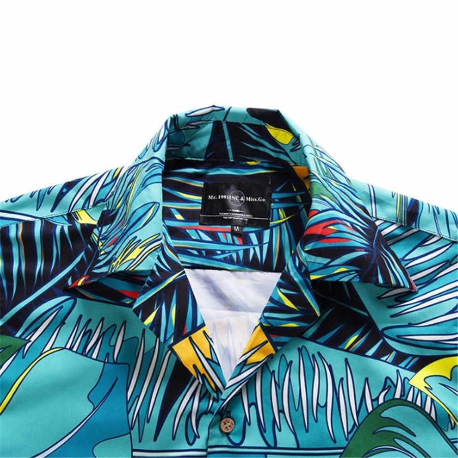 Большой Размеры рубашка Для мужчин типографии гавайская рубашка Повседневное короткий рукав кнопка Лето Для мужчин пляжные рубашка Европейский Размеры рубашка Xl5058