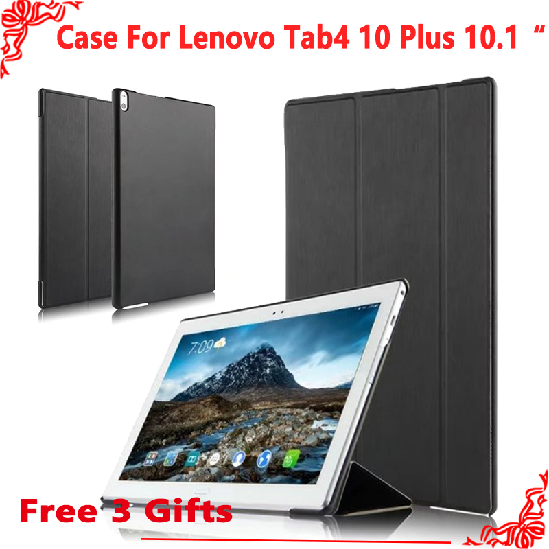 For Lenovo TAB4 10 Plus Ultra Thin pu Leather Flip Case For Lenovo TAB 4 10 Plus TB-X704N TB-X704F tablet Cover +free 3 gifts new print luxury magnetic folio stand fashion prints flower leather case cover for lenovo tab 3 8 plus tab3 p8 tb 8703f tb 8703n