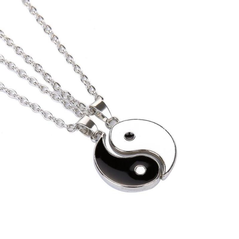 Gossip Yin Yang Necklace Pendant Vintage Silver Best Friends BFF Choker Collares Chain Necklace For Men Women Jewelry Party Gift