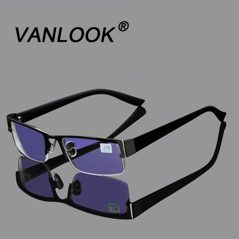 Edelstahl Myopie Gläser Für Die Computer Männer Brillen Klare Linse Brille Anti Blue Ray Brillen Rahmen-4,5-5,0 -5,5-6,0