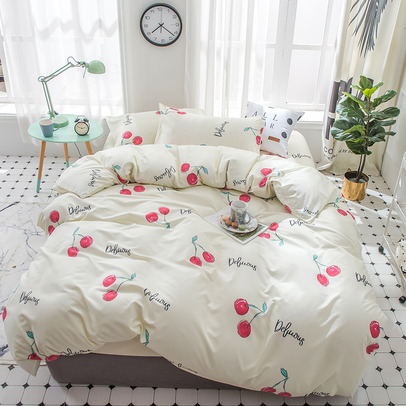 Cartoon cherry bedding set teen child girl twin full queen king home textile Pale yellow cute bed sheet pillowcase quilt cover