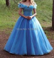 New Arrival Custom Made Adult Cinderella Dress Costumes For Women Fantasia Halloween Party Dress Blue Cinderella Dress