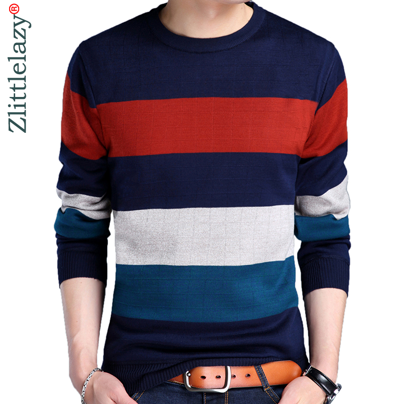 2019 Brand Casual Autumn Winter Warm Pullover Knitted Striped Male Sweater Men Dress Thick Mens Sweaters Jersey Clothing 41179