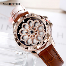 SANDA Fashion Rotate Clock Dial Women Watches Top Brand Luxury Leather Strap Leisure Ladies Watch Quartz Waterproof Wrist