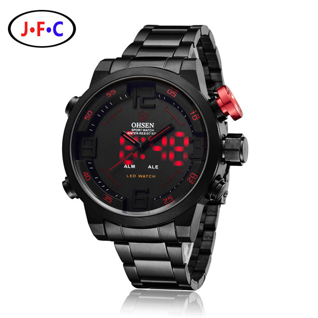 Men Watches OHSEN Watch Men's Luxury Brand Full Steel Quartz Clock Digital LED Watch Army Military Sport Watch