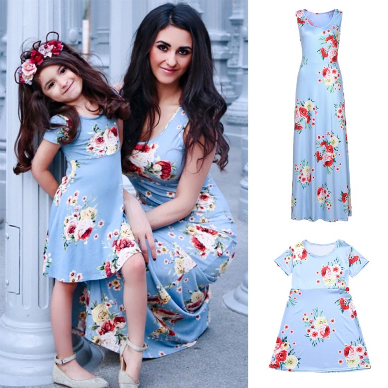 Wedding Mother /& Daughter Dresses Matching Women Girls Maxi Dress Family Clothes
