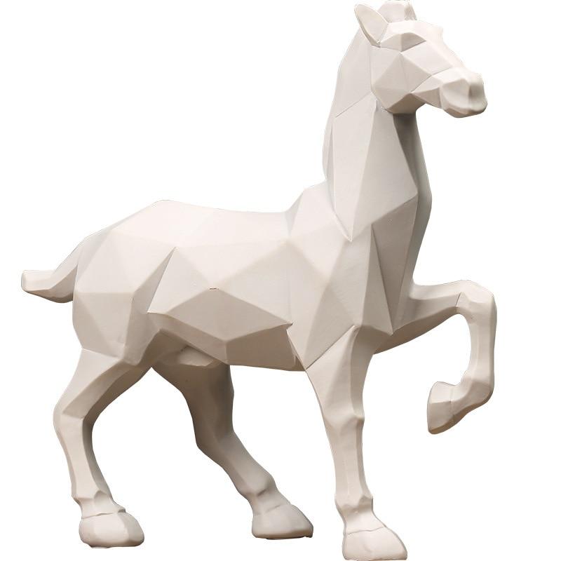 Creative Blanc Cheval Figurine Ornement Géométrique Chevaux Statue De Bureau Artisanat Salon Meuble Bar Décor D'affaires De Cadeau De Mariage
