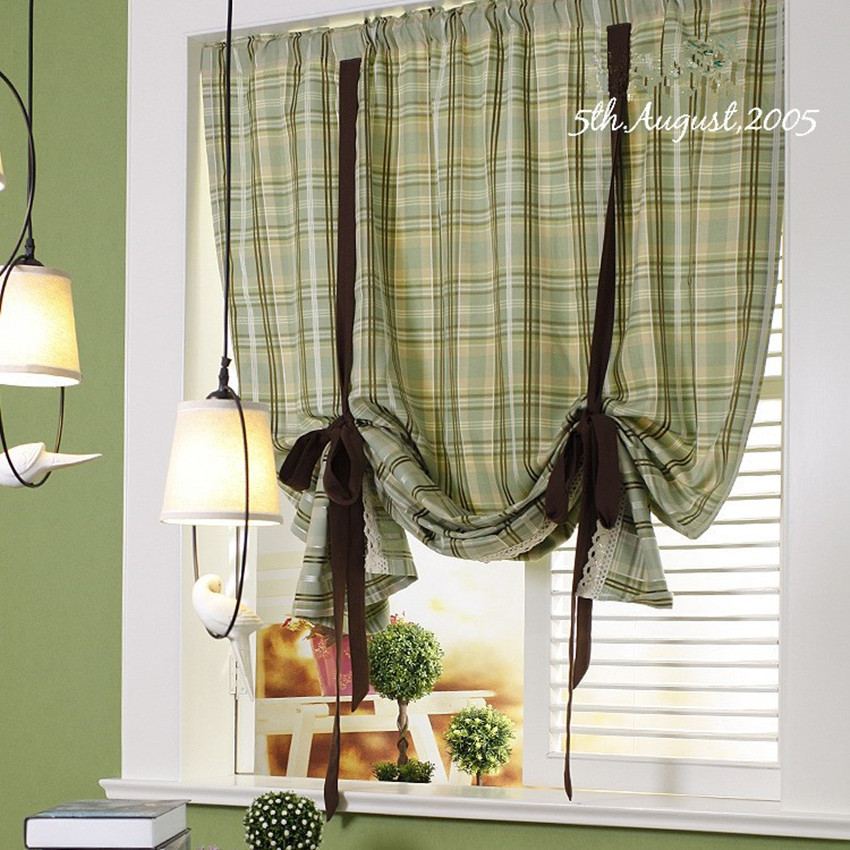 Amazing American Country Style Greenu0026Coffee Plaid Adjustable Height Roman Curtain  Home Decorative Door Curtain 130*200cm Height