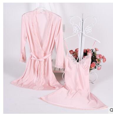 1931 Sexy Frauen Lace Silk Satin Kimono Bademantel Nachthemd Robe Sets Halbe Hülse Dessous Pyjamas Nachtwäsche Lounge Weibliche Nightwe Offensichtlicher Effekt