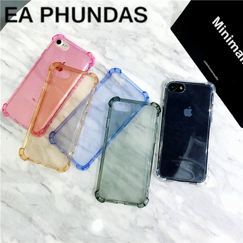 Luxury Transparent Four Corners Anti-knock phone Cover For iPhone 5 7 6 6S 8 Plus X Case Soft Silicone Full protect Coque Fundas