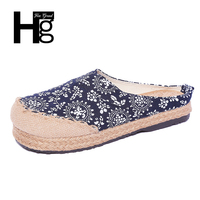 HEE GRAND Plus Size 35 42 Chinese Style Women Flats Casual Slip On Round Toe Cotton