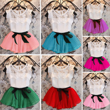 Baby Girls Summer 2pcs Outfits Tees and Skirts Candy Color Princess Clothing