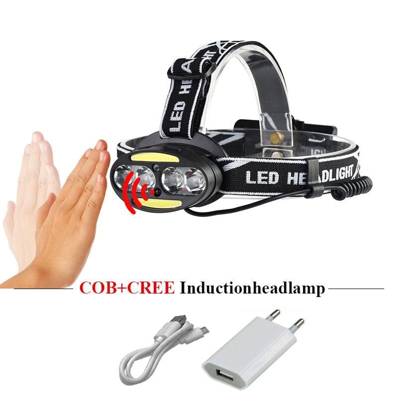 Usb projecteur cob induction phare 18650 tête lampe rechargeable cree xml t6 led torche lampe de poche lampe frontale linterna frontale