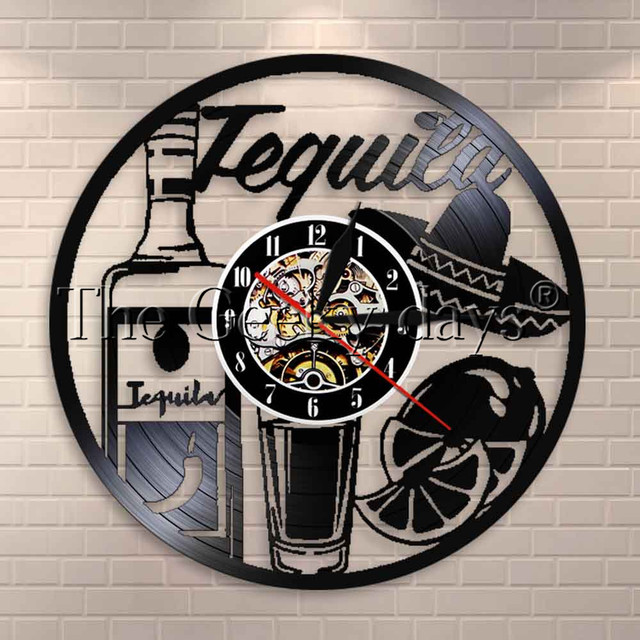 1piece Tequila Beverage Drink Theme Decoration Wall Clock Modern Art Retro Vinyl Record Clocks Unique