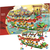 Dragon Boat Race Chinese Exclusive Bricks Chinese Festivals Building Blocks Toys Gifts Compatible Legoing 80103 brinquedos
