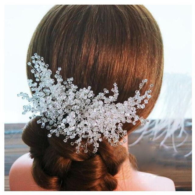 trendy crystal wedding hair combs bride hair accessories silver hair ornaments bridal headpiece handmade women jewelry