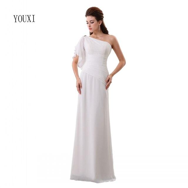Vestido De Noiva Crystal Chiffon One Shoulder Beach Wedding Dress