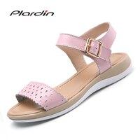Plardin 2018 Women Shoes Summer Buckle Strap Flat Heel Genuine Leather Casual Ankle Strap Shoes Woman