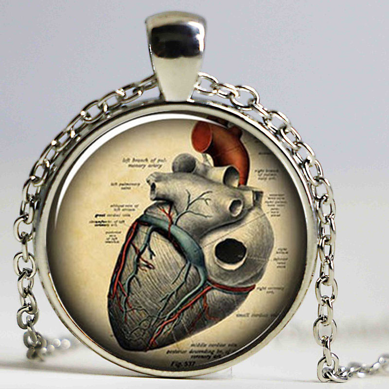 High Quality Brand Minecraft Goth Necklace Colares Femininos Anatomical Heart Gothic Necklace Steampunk Anatomy Jewelry