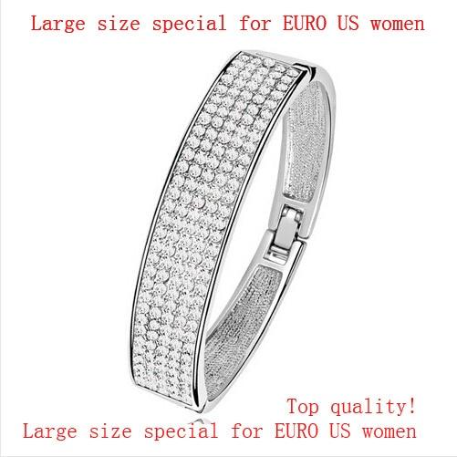 AAAA + Tjeckiska rhinestones Bred cirkel Armband charmar kvinnor tjej tillbehör mode smycken Gratis droppe Leverans kvalitet grossister