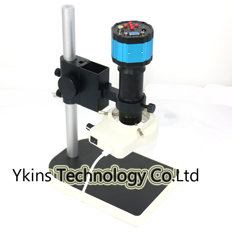 2.0MP HD 130x Blue Digital Industry Microscope Camera VGA AV Video Output for PCB Lab C-mount Lens + Adjustable Stand Holder 2 0mp digital industrial microscope camera vga output 8x 130x optical c mount lens adjustable led lights stand