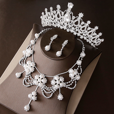 Crystal Bridal Jewellery Set Tiara Necklace Earrings For Brides