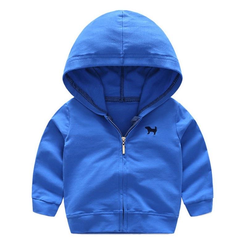 Осень-весна для маленьких мальчиков с длинным рукавом Твердые Цвет ветрозащитный с капюшоном малыша Детская Верхняя одежда; куртки Пальто ...