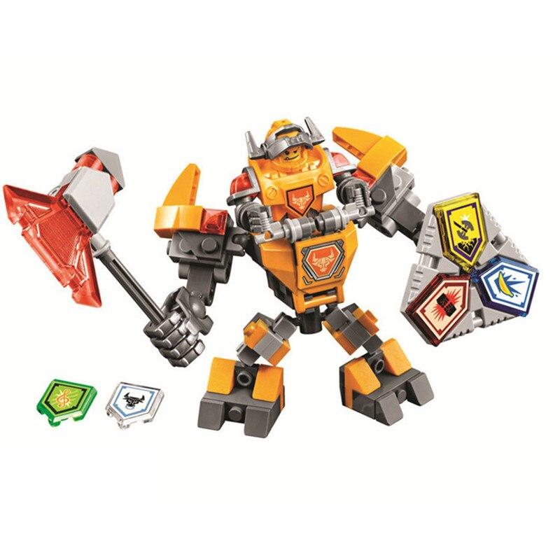 купить Bela Nexus Nexo Knights 70363 Action Figure Building Blocks Macy Aaron AXL Lance Clay Battle Suit Compatible Legoe Gifts по цене 497.75 рублей