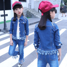 купить girl clothes Children's clothing girls autumn suit 2019 new children's denim suit three-piece spring and autumn girl denim suit дешево