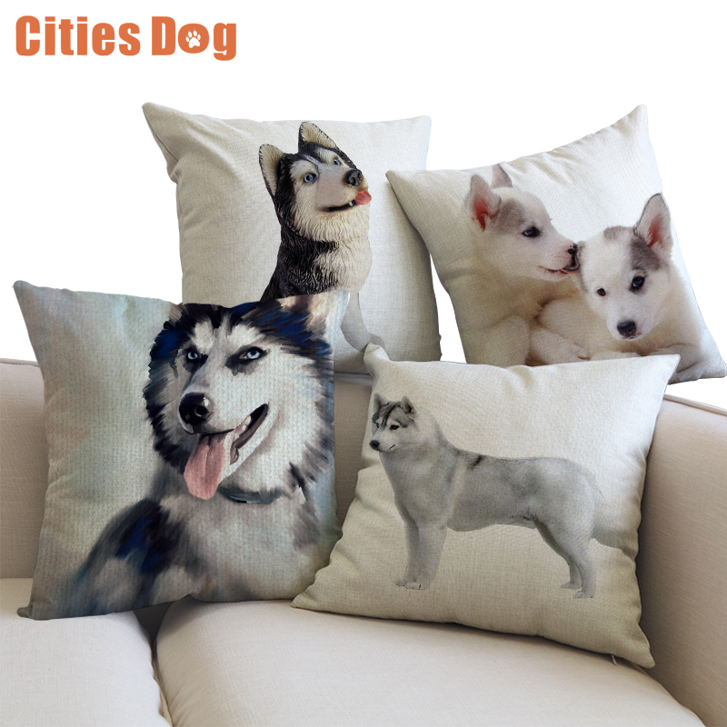 Superb Us 5 51 31 Off Decorative Cushion Animal Dog Pillows Cojines Linen Siberian Husky 45X45Cm Throw Car Sofa Pillow Cushions In Cushion From Home Ncnpc Chair Design For Home Ncnpcorg