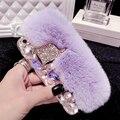 Cabeça de raposa pele de coelho cabelo luxo diamante bling strass casos de telefone para o iphone 6 6 S Mais 7 7 Mais 5 5S SE Capa capa para Coque