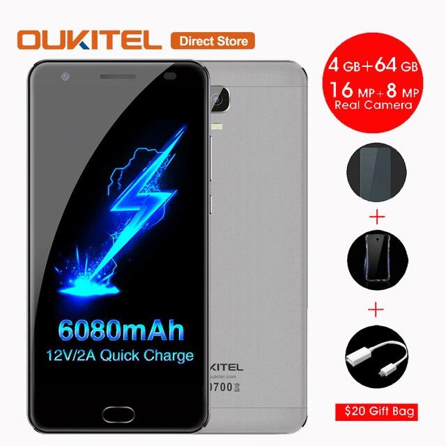 6080 мАч OUKITEL K6000 Плюс 4 Г Смартфон Android 7.0 MTK6750T Окта основные 4 ГБ + 64 ГБ 16MP 12 V/2A 5.5 Дюймов Отпечатков Пальцев Мобильный Телефон