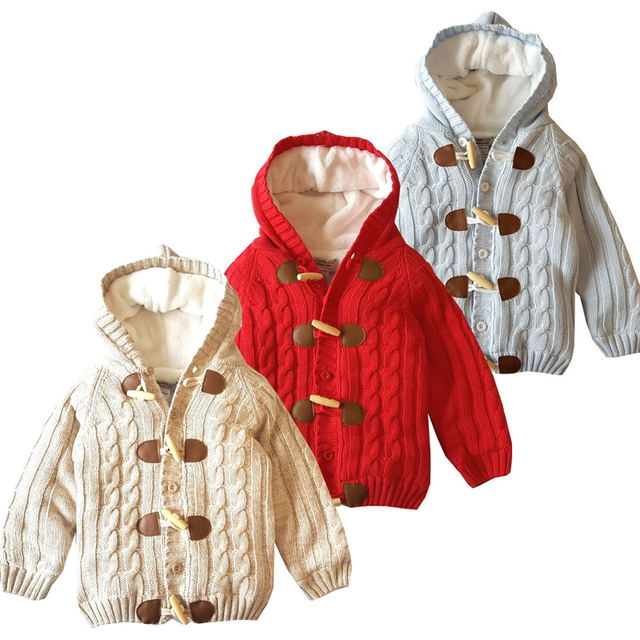 4409a3d467c6 Cotton Winter Warm Baby Girls Sweater Fleece Thick Single Breasted Hooded  Infant Boys Knitted Cardigan Children Outwear XL319