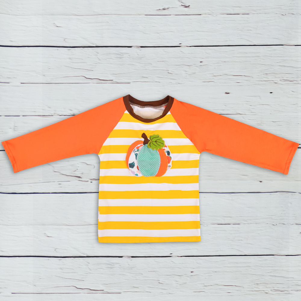 Halloween Holiday Children Orange Raglan Sleeve Clothing Costume Pumpkin Embroidery Pullover T-shirt Fashion Outfits BSY806-036 graphic print raglan sleeve hoodie