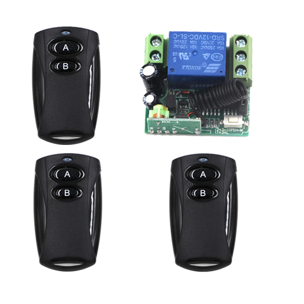 1 Receiver & 3 Transmitter FR Wireless Remote Control switch system 1CH DC12V 10A Multifunctional wireless Module 4412 receiver