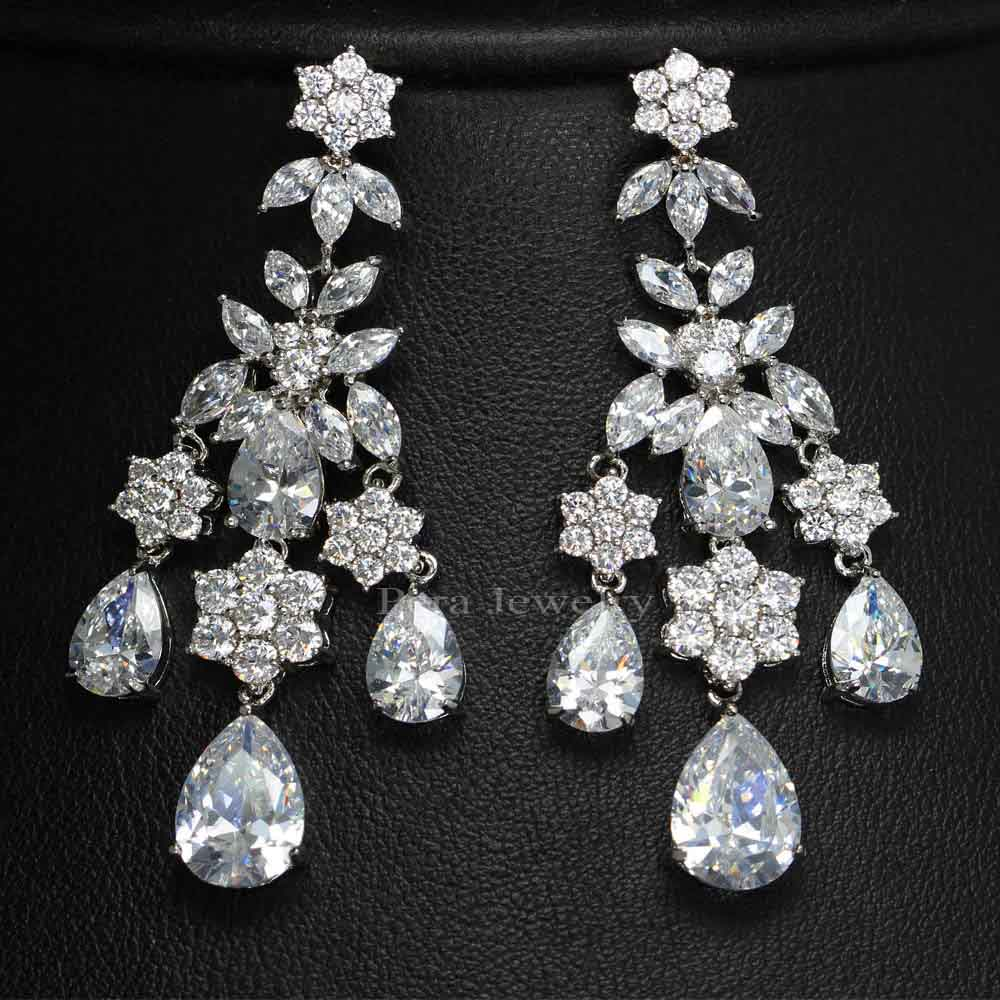 Pera Luxury Women Party Costume Jewelry Full Sparkling Cubic Zircon Stone Long Chandelier Drop Earrings For Gift E085 In From