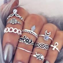 10 pcs/set Vintage Knuckle Ring for Women Boho Geometric Carved Flower Elephant Rhinestone