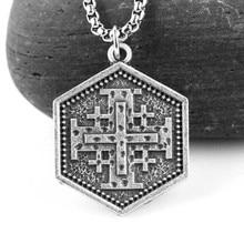 Hombres Vintage Jerusalén cruz Medieval, collar de 25mm * 25mm hexagonal/triángulo Gemetric Catholicis declaración crucifijo colgantes de joyería