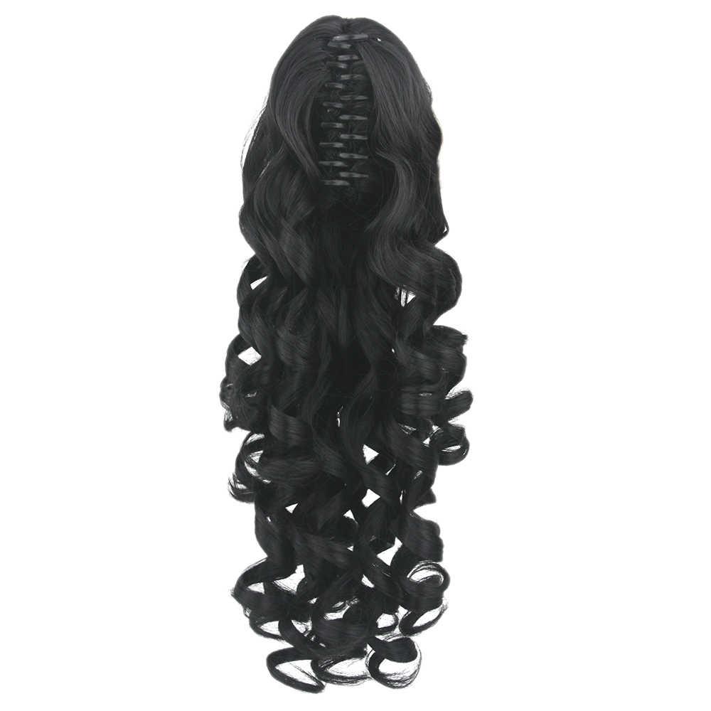 Soowee 60cm longo preto loira encaracolado grampo em extensões de cabelo peças pônei cauda fibra de alta temperatura sintético cabelo garra rabo de cavalo
