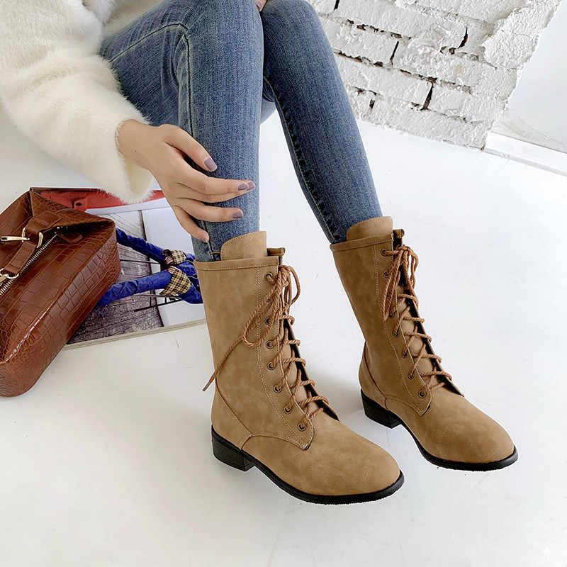 Asumer Lớn Size 34-46 Thời Trang Mắt Cá Chân Giày Cho Nữ Giày Mũi Tròn Nữ Thu Đông Giày Chéo Buộc Giày phụ Nữ Năm 2020 Mới