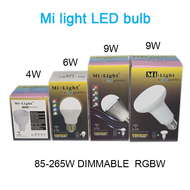 Mi Light  WIFI dimmable 2.4G led spot lamp 110V 220V  Dimmable 110V 220V CW/WW RGBW RGBWW E27 GU10 4W 5W 6W 8W 9W Smart LED Bulb dimmable mi light 2 4g gu10 5w color temperature adjustable dual white cw ww led bulb lamp ac85 265v 110v 220v wifi compatible