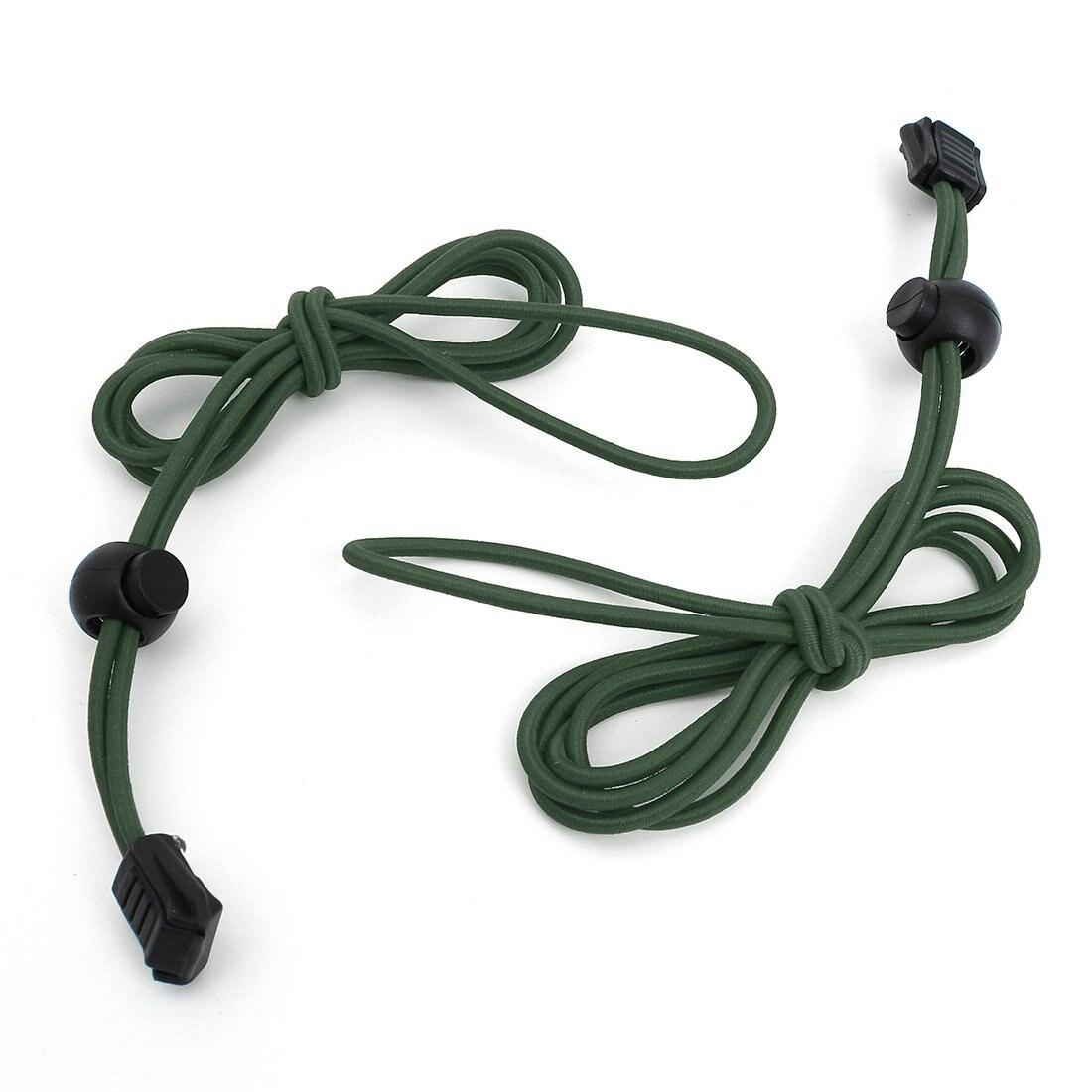 VSEN 2X Locking Shoe Laces Elastic Running Sports 110cm 1pair Dark green
