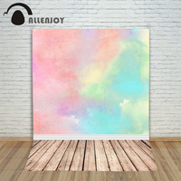 Allenjoy Photography Backdrops Gouache Painting Pink Blue Beautiful Art Wood Photo Background New Year For Photo