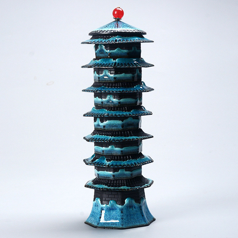 Unique design Tea set 8cups 1Gaiwan Eight treasure tower travel tea set temmoku glaze Porcelain Exquisite