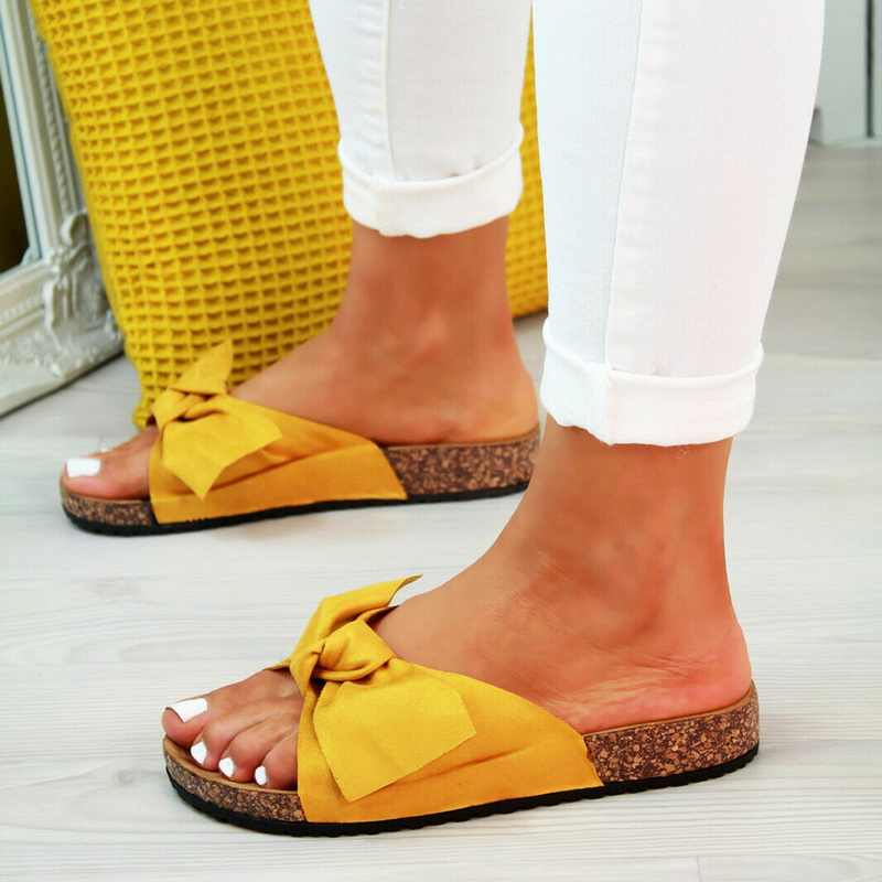 Laamei New Womans Slip On Sliders Comfort Bow Flatform Mule Summer Sandals Comfy Shoes Sizes Fashion 2019