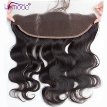 LeModa 13x4 Pre Plucked Full Lace Frontal Closure Bleached Knots With Baby Hair Brazilian Body Wave Frontal Remy Human Hair(China)